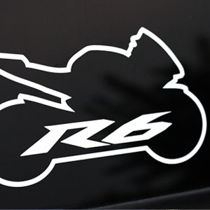 A yamaha r6 vinyl decal showing the outline of a 2006, 2007, 2008, 2009, 2010, 2011, or 2012 Yamaha R6. It looks great on the back of your car window.
